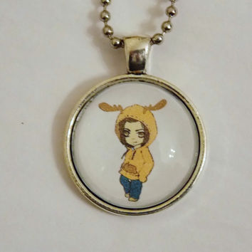 Supernatural Moose Necklace. Original Art By Diana Boothby. 18 Inch Chain.