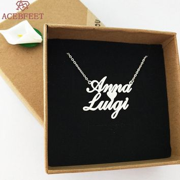 2018 Boho Personalized Jewelry Custom Two Name Necklaces Women Bijoux Silver Gold Rose Heart Choker Pendant Best Friend Gifts
