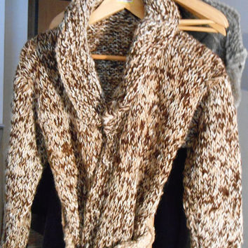 Knitted coat, brown melange, in  natural Alpaca,vintage style