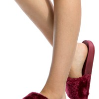 Wine Faux Fur Slide Sandals