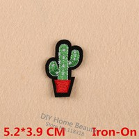 Cactus  Plant  Clothes  Embroidered  Patches  Clothing