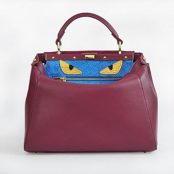 fendi women s fashion wine red classic leather shoulder tote handbag bag
