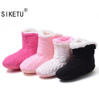 SIKETU 2017 New Style Doe's Not Hurt The Floor Slippers At Home Knitting Wool Slippers