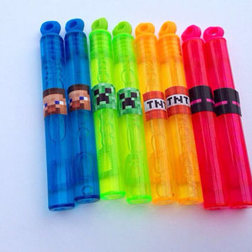 8 Minecraft Bubble Wands Steve Creeper Party Favor Goody Bags Birthday SALE PRICE!!!