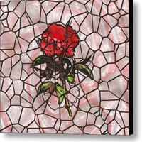 A Rose On Stained Glass Canvas Print / Canvas Art By John Bailey