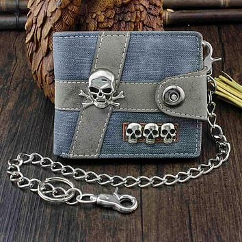 Skull Punk Biker Casual Wallet With Chain
