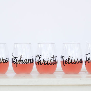 Personalized Wine Glasses  and Recyclable Plastic with Personalized Wedding Calligraphy for Bachelorette Party, Wedding, Shower or Event