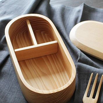 Wooden Lunch Box Japanese Bento Box Sushi Portable Food Container Travel School Office Camping Lunch Box