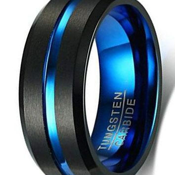 CERTIFIED 8mm Men's Tungsten Carbide Matte Finished Black Groove Wedding Band