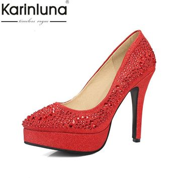 KARINLUNA brand top quality bling upper women shoes sexy pointed toe thin high heels office lady bride wedding shoes woman