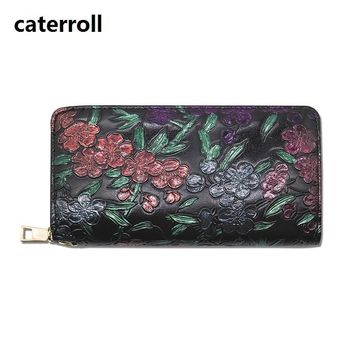 wallet women long pu leather purse luxury brand floral ladies wallets and purses large capacity female money bag