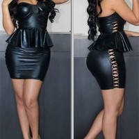 Sexy Womens Black Strapless Leatherette Cocktail Party Peplum Mini Dress