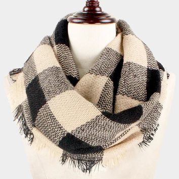 Buffalo Plaid Woven Infinity Scarf (Click For More Colors)