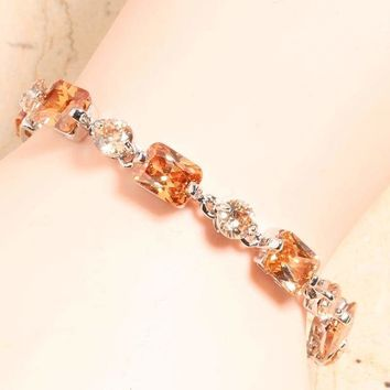 Champagne Orange Morganite 925 Sterling Silver Link Chain Bracelet