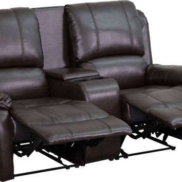 Brown Leather Pillowtop 2-Seat Home Theater Recliner with Storage Console