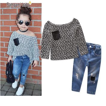 Fashion long-sleeve Girl's clothing sets baby girl's suit set children's clothing neckline Shirts blouse+ jeans