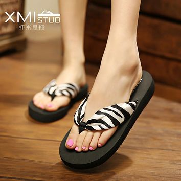 XMISTUO Style Sweet fashion flip flops slope with Student colorful slip female minimalist resort Riband beach sandal and slipper