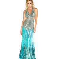 Mac Duggal Prom 2013 - Sky Blue & Silver Sequin Gown - Unique Vintage - Cocktail, Pinup, Holiday & Prom Dresses.