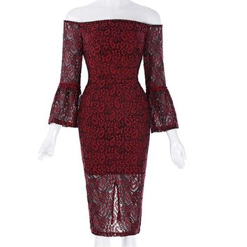 Red Lace Cocktail Dress Sexy Off The Shoulder Mermaid Cocktail Dresses Three Quarter Formal Party Gowns