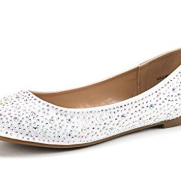 DREAM PAIRS Women's Sole-Shine Rhinestone Ballet Flats Shoes