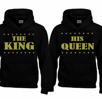 The KING - His QUEEN Hoodies + Your name on the back or any text