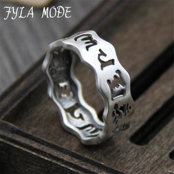 FYLA MODE 999Silver Thai Silver Hollow Finger Ring Vintage Silver Buddhist OM Mani Padme Hum Ring Pure Silver Ring Jewelry Gift