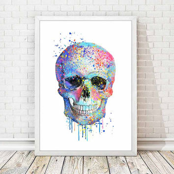 Skull Print Modern Skull Watercolor Poster Abstract Skull Mixed Media Painting Art Children Kids Baby Room Home Decor Gift Wall Decor A130