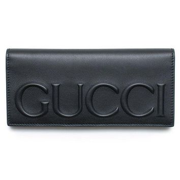 DCCK Gucci XL Logo Black Leather Wallet Signature Leather Italy New