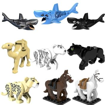 Mini Diy Small Bricks Animal Shark Figures Model Compatible With Legoingly Building Blocks Accessory Handmade Toys For Children