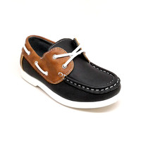 Boy's Blue Faux Leather Lace Up Casual Shoes with Brown Details