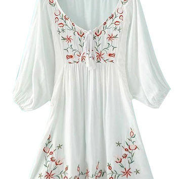 White V-neck Embroidery 3/4 Sleeve Crepe Detail Dress