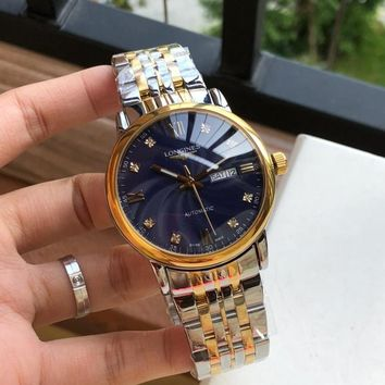 KKUYOU L035 Longines Waterproof Automatic Mechanical Men Steel Band Watches Sliver Gold Blue