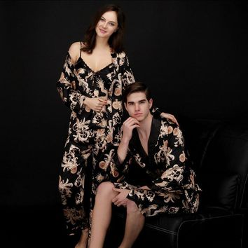 New Spring Couple Lovers Silk Pajamas & Robes - Free Shipping