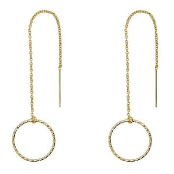 Diamond Cut Circles Threader Earrings