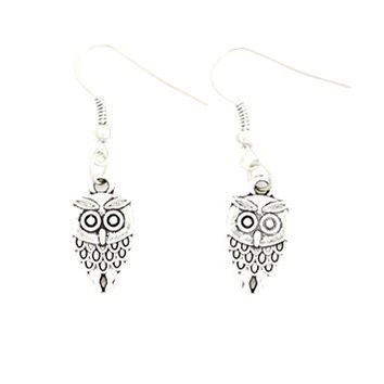 Owl Dangle Earrings Vintage Silver Tone Cute Retro Bird EH28 Fashion Jewelry