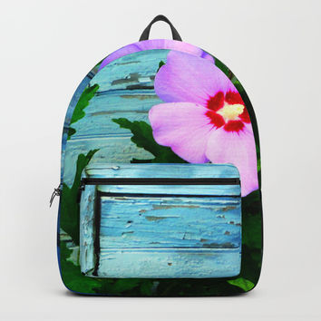 Country Blue Barn Wood Flag Backpacks by Zurine