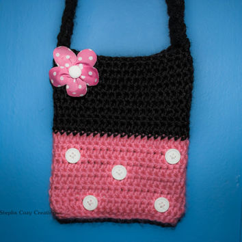 Crochet Purse, Minnie Mouse, Toddler Purse, Gift Bag, Minnie Mouse- Pink, Black