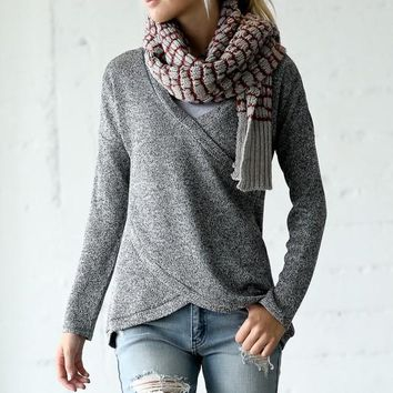 Criss Cross Cozy Winter Top - Heather Gray