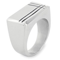 Polished Grooved Mens Stainless Steel Ring