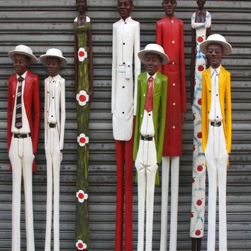 Contemporary African Decor-Wooden Colonial Figures