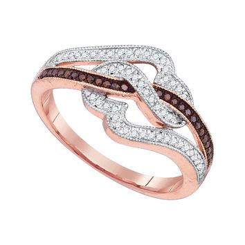 10k Pink Rose Gold Red Colored Diamond Womens Unique Cocktail Heart Band Ring 1/4 Cttw 89743