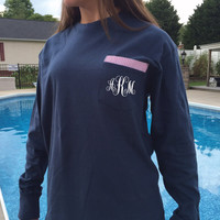 Custom Monogram Long Sleeve Shirt With Seersucker Pattern