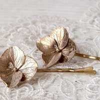 Solid Bronze Hydrangea Blossom Hair Pins by WoodlandBelle on Etsy