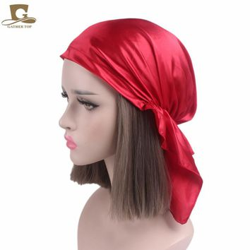 New Pre Tied Fitted silk satin Bandana Chemo Head Scarf for hair loss patients Womens night sleeping cap Pirates Turban