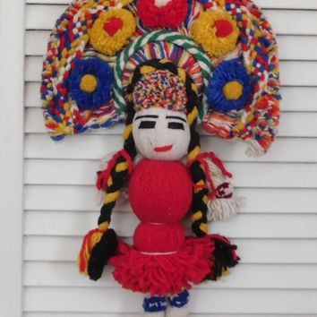 Kachina Yarn Doll Wall Hanging Mexican Doll 70s 80s Wall Art