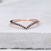 V Ring - Rose Gold with Black Stones