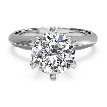 A Perfect 6CT Round Cut Solitaire Russian Lab Diamond Engagement Ring