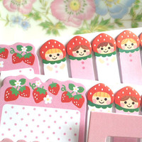 Little red hat girl sticky memo strawberry baby sticky flag Little red riding hood fairy tale cartoon girl memo paper lovely school gift
