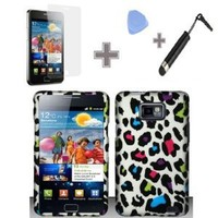 Rubberized Colorful Leopard Snap on Design Case Hard Case Skin Cover Faceplate for At&t Samsung Galaxy S2 II I9100