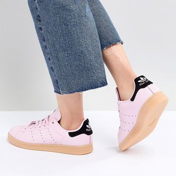 adidas Originals Stan Smith Sneakers In Pink With Gum Sole at asos.com